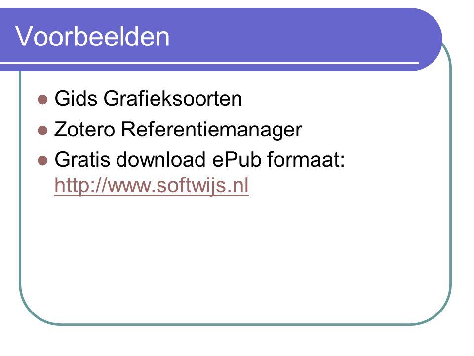 Voorbeelden Gids Grafieksoorten Zotero Referentiemanager Gratis download ePub formaat: http://www.softwijs.nl http://www.softwijs.nl