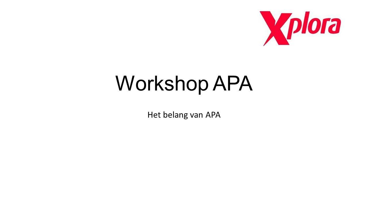 Workshop APA Het belang van APA