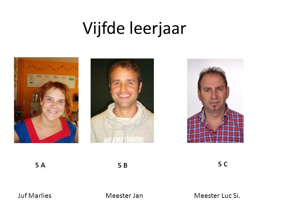Vijfde leerjaar 5 A 5 B 5 C Juf Marlies Meester Jan Meester Luc Si.