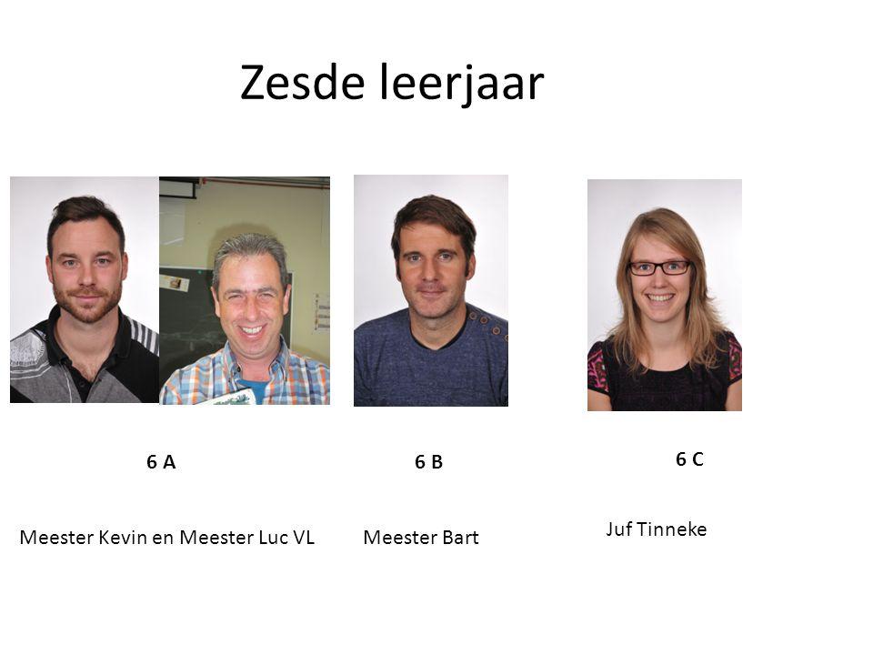 Zesde leerjaar 6 A 6 B 6 C Meester Kevin en Meester Luc VLMeester Bart Juf Tinneke