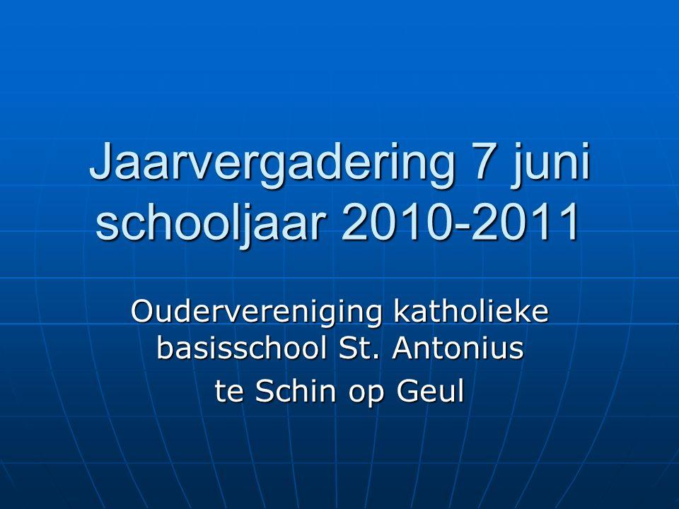 Jaarvergadering 7 juni schooljaar 2010-2011 Oudervereniging katholieke basisschool St.