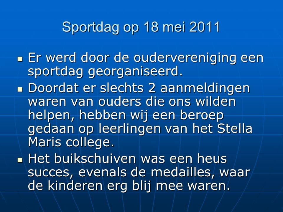 Sportdag op 18 mei 2011 Er werd door de oudervereniging een sportdag georganiseerd.