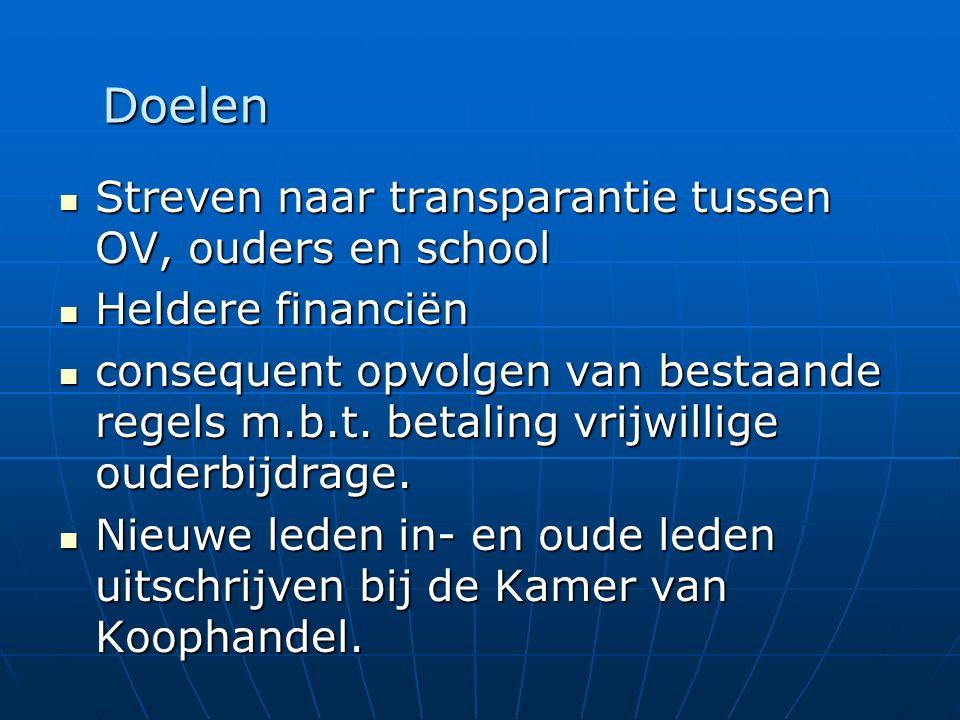 Streven naar transparantie tussen OV, ouders en school Streven naar transparantie tussen OV, ouders en school Heldere financiën Heldere financiën consequent opvolgen van bestaande regels m.b.t.