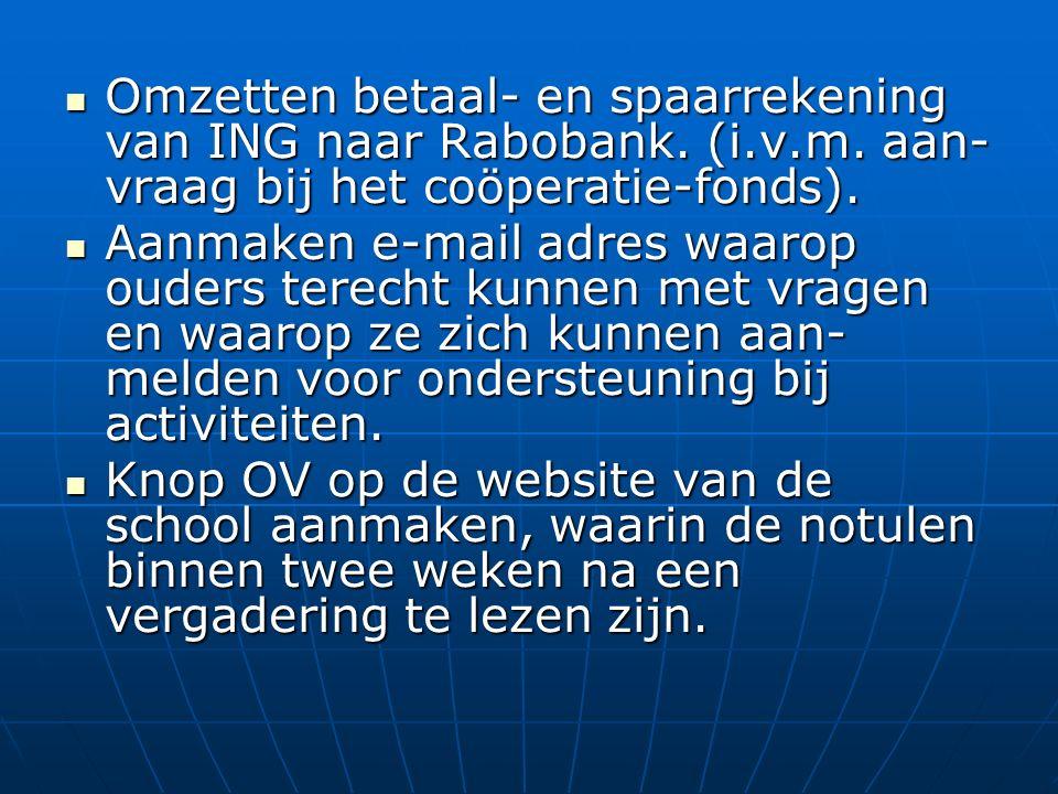 Omzetten betaal- en spaarrekening van ING naar Rabobank.