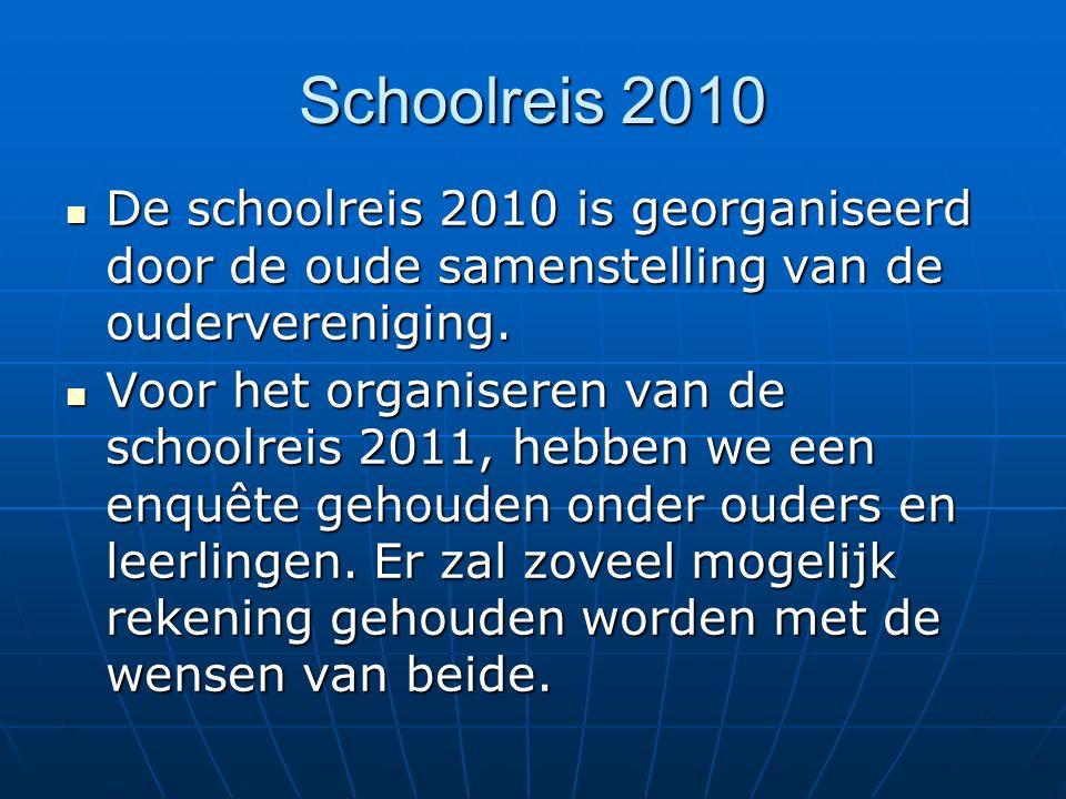Schoolreis 2010 De schoolreis 2010 is georganiseerd door de oude samenstelling van de oudervereniging.