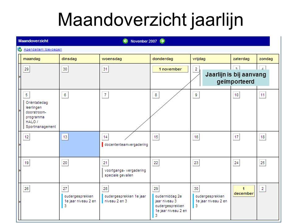 Maandoverzicht jaarlijn Jaarlijn is bij aanvang geïmporteerd