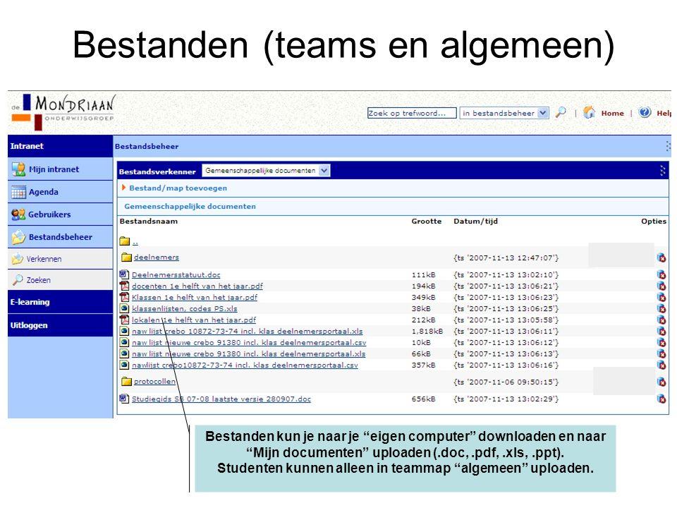 Bestanden kun je naar je eigen computer downloaden en naar Mijn documenten uploaden (.doc,.pdf,.xls,.ppt).