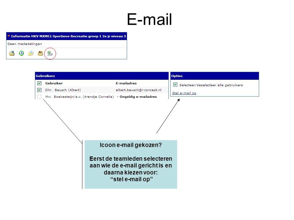 Icoon e-mail gekozen.