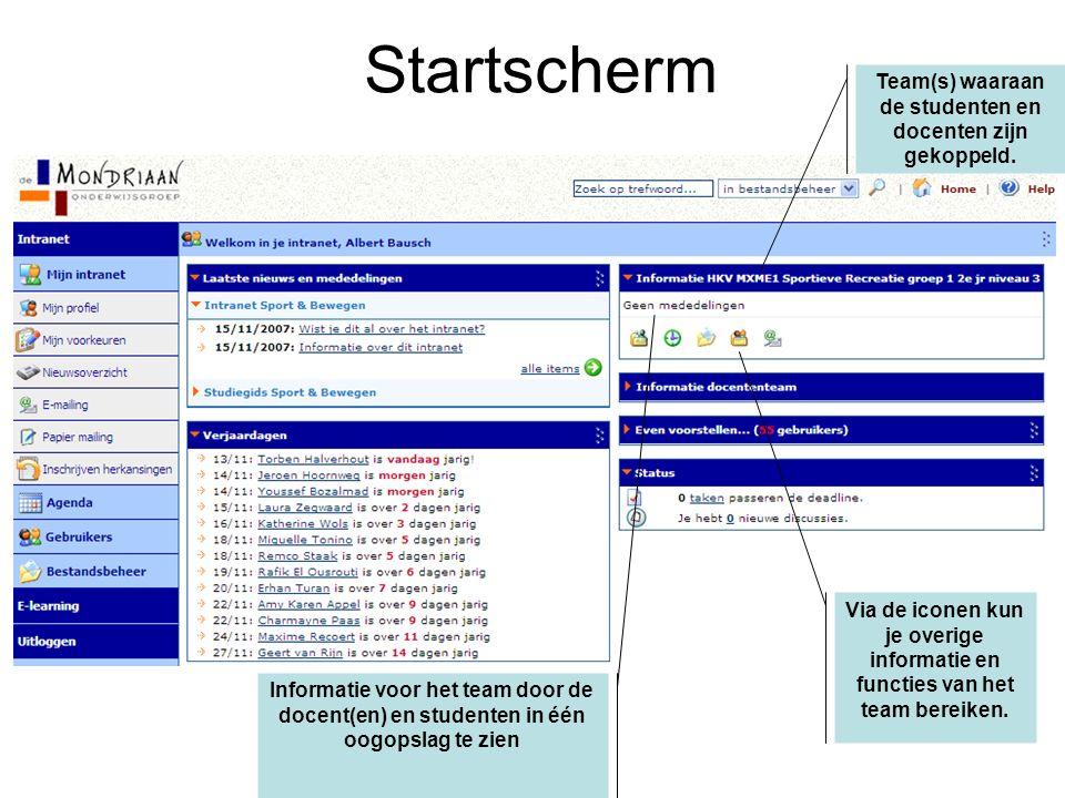 Startscherm Team(s) waaraan de studenten en docenten zijn gekoppeld.