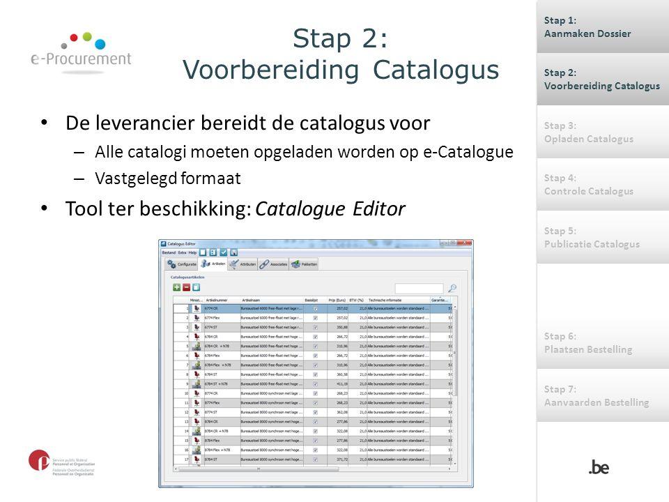 Stap 2: Voorbereiding Catalogus De leverancier bereidt de catalogus voor – Alle catalogi moeten opgeladen worden op e-Catalogue – Vastgelegd formaat T
