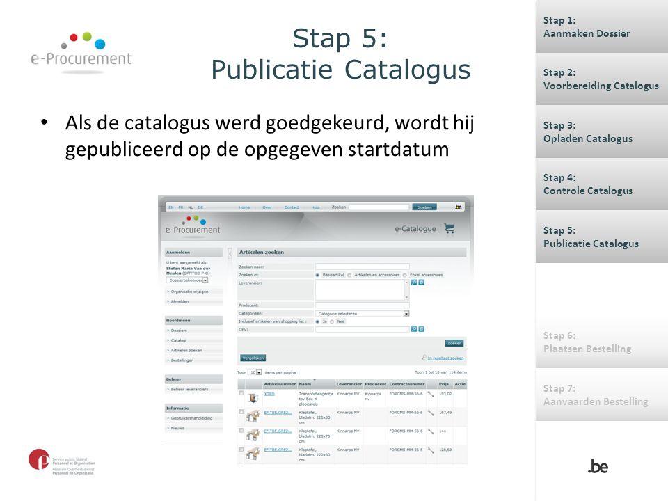 Stap 5: Publicatie Catalogus Als de catalogus werd goedgekeurd, wordt hij gepubliceerd op de opgegeven startdatum Stap 1: Aanmaken Dossier Stap 1: Aan