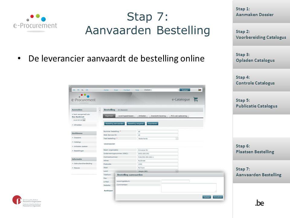 Stap 7: Aanvaarden Bestelling De leverancier aanvaardt de bestelling online Stap 1: Aanmaken Dossier Stap 1: Aanmaken Dossier Stap 2: Voorbereiding Ca