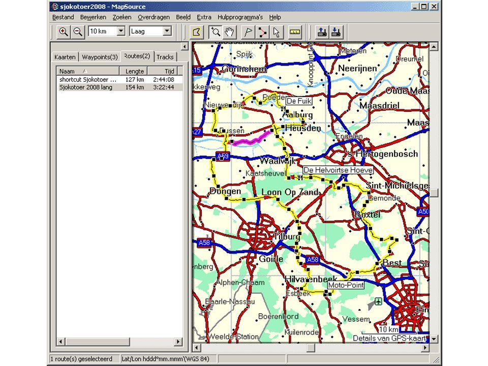 De menubalk, de functiemenu's en de functies In de menubalk zijn alle functies die MapSource bevat ingedeeld in functiemenu's.