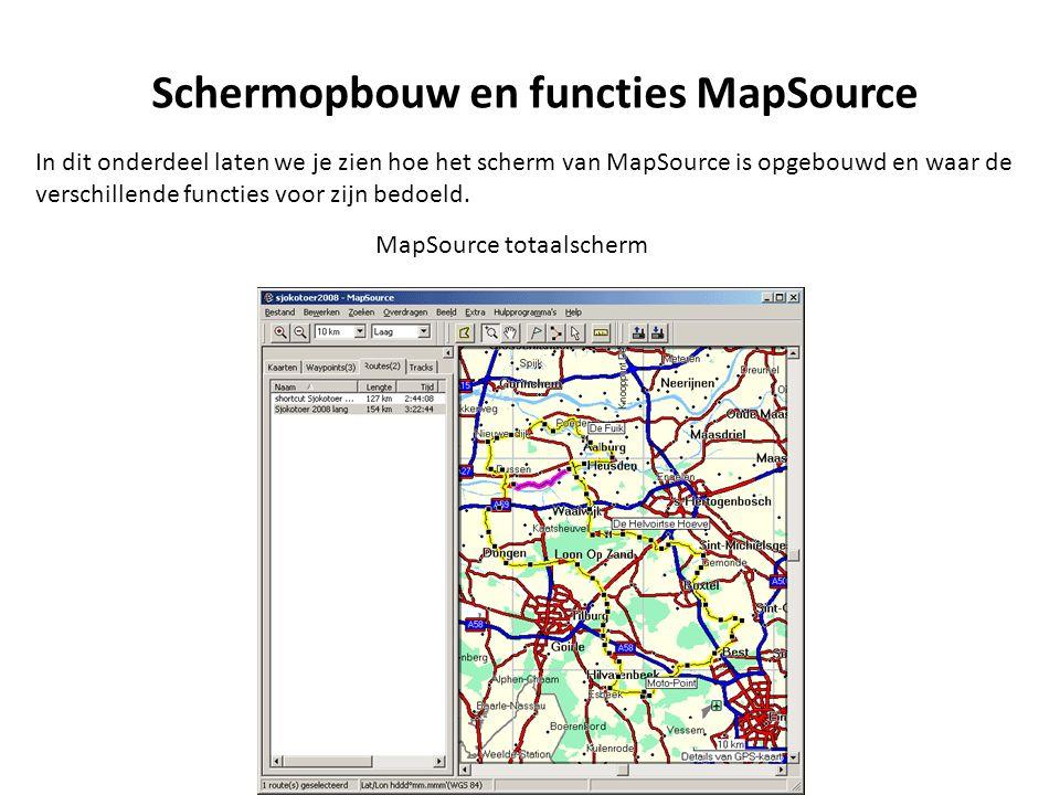 Schermopbouw en functies MapSource MapSource totaalscherm Menu balk werkbalk Tabbladen route informatie Grafische weergave van de route Geel = geselecteerde Purper= niet geselecteerde