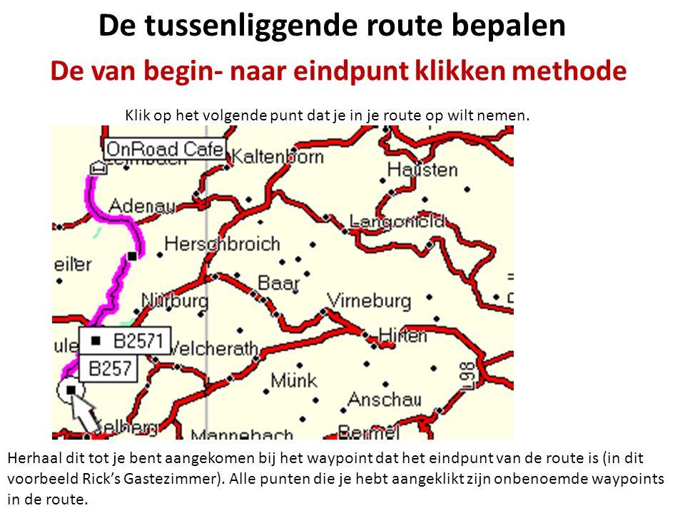 De tussenliggende route bepalen De van begin- naar eindpunt klikken methode Klik op het volgende punt dat je in je route op wilt nemen. Herhaal dit to