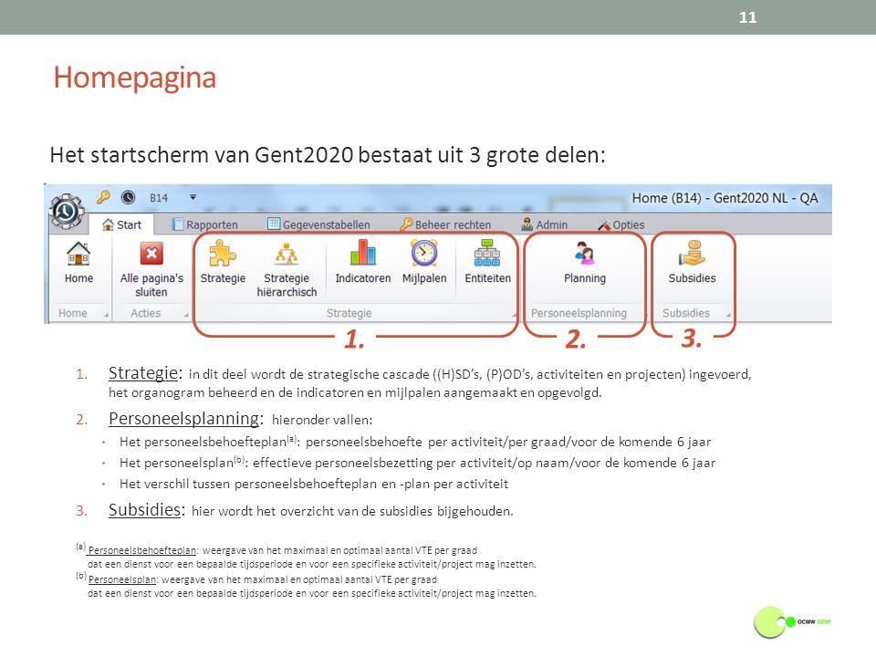 Homepagina 11 Het startscherm van Gent2020 bestaat uit 3 grote delen: 1.