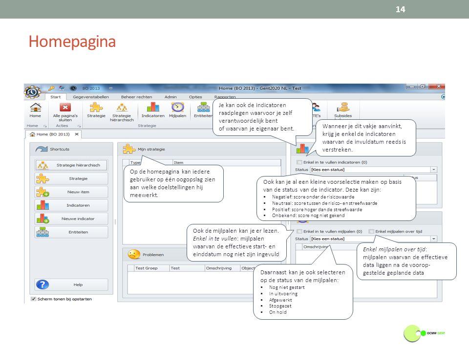 14 Op de homepagina kan iedere gebruiker op één oogopslag zien aan welke doelstellingen hij meewerkt.