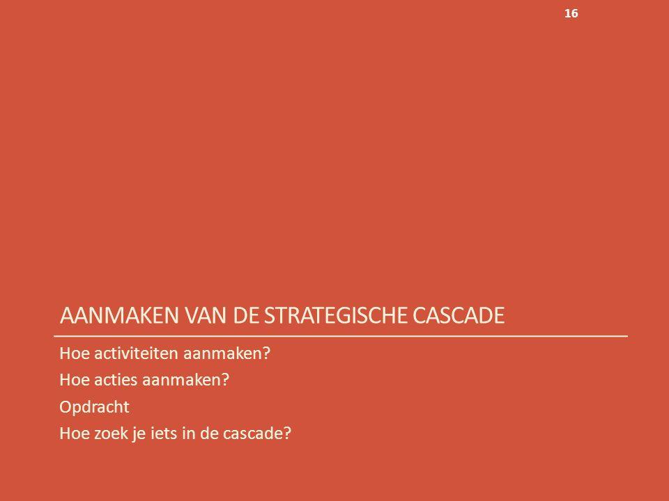 AANMAKEN VAN DE STRATEGISCHE CASCADE Hoe activiteiten aanmaken.