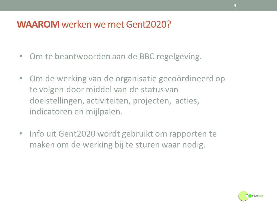 WAAROM werken we met Gent2020. 4 Om te beantwoorden aan de BBC regelgeving.