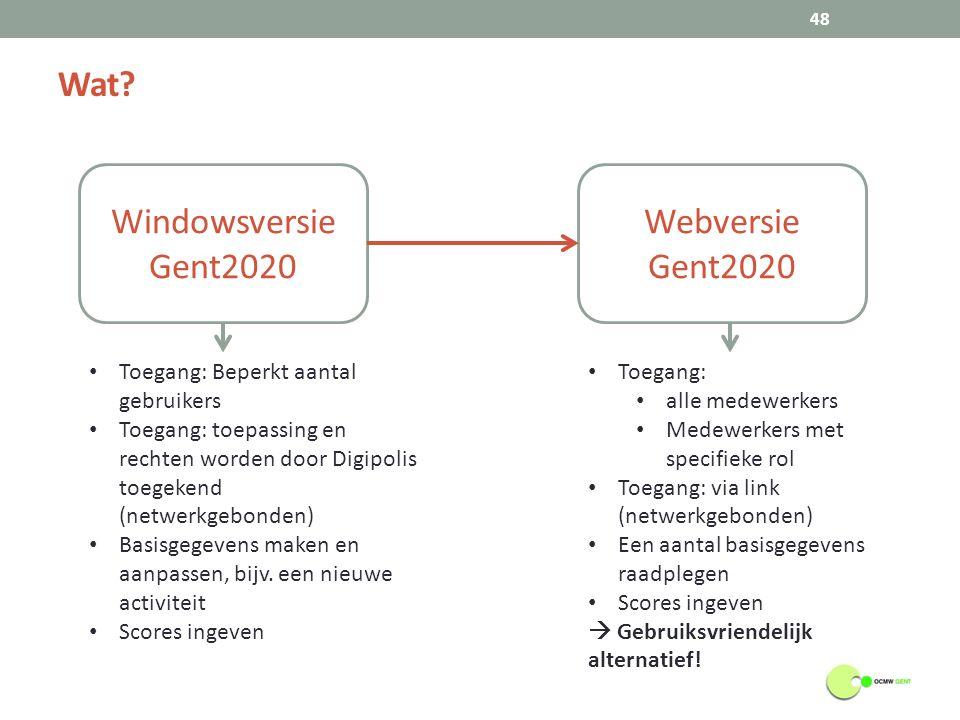 Wat? 48 Windowsversie Gent2020 Webversie Gent2020 Toegang: Beperkt aantal gebruikers Toegang: toepassing en rechten worden door Digipolis toegekend (n