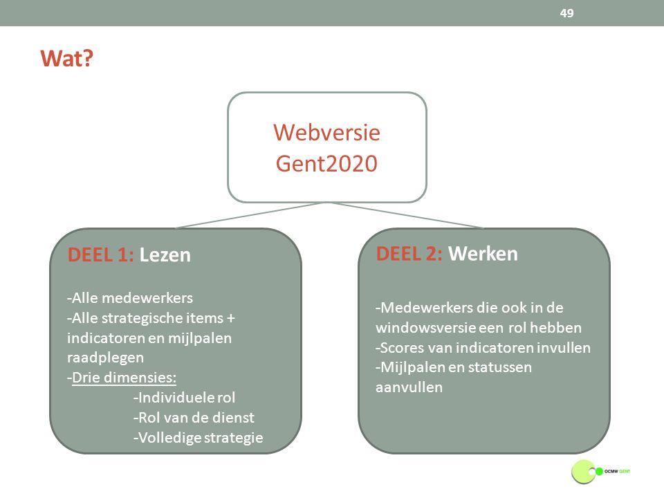 Wat? 49 Webversie Gent2020 DEEL 1: Lezen -Alle medewerkers -Alle strategische items + indicatoren en mijlpalen raadplegen -Drie dimensies: -Individuel