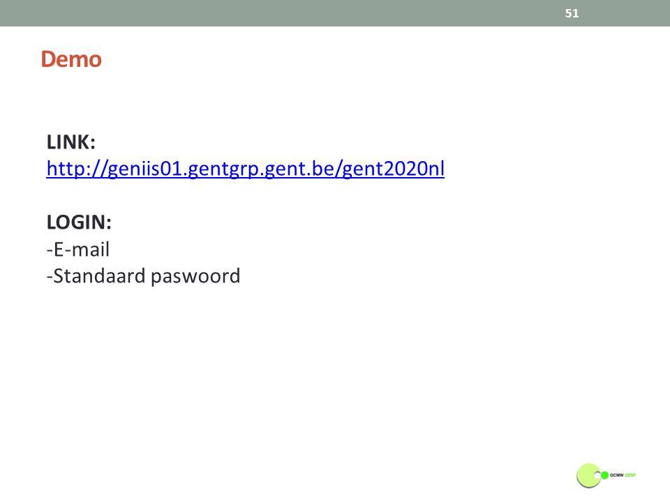 Demo 51 LINK: http://geniis01.gentgrp.gent.be/gent2020nl LOGIN: -E-mail -Standaard paswoord