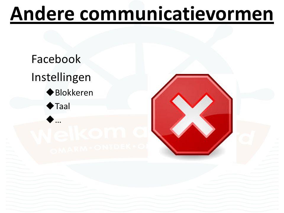 Andere communicatievormen Facebook Instellingen  Blokkeren  Taal  …