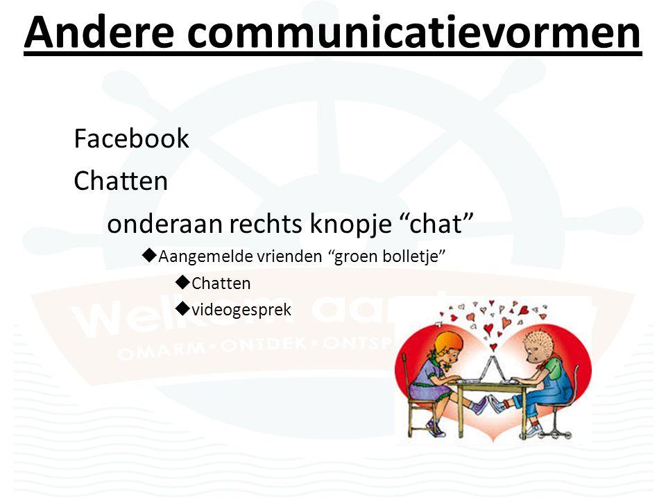 Andere communicatievormen Facebook Chatten onderaan rechts knopje chat  Aangemelde vrienden groen bolletje  Chatten  videogesprek