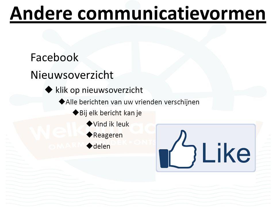 Andere communicatievormen Facebook Nieuwsoverzicht  klik op nieuwsoverzicht  Alle berichten van uw vrienden verschijnen  Bij elk bericht kan je  Vind ik leuk  Reageren  delen