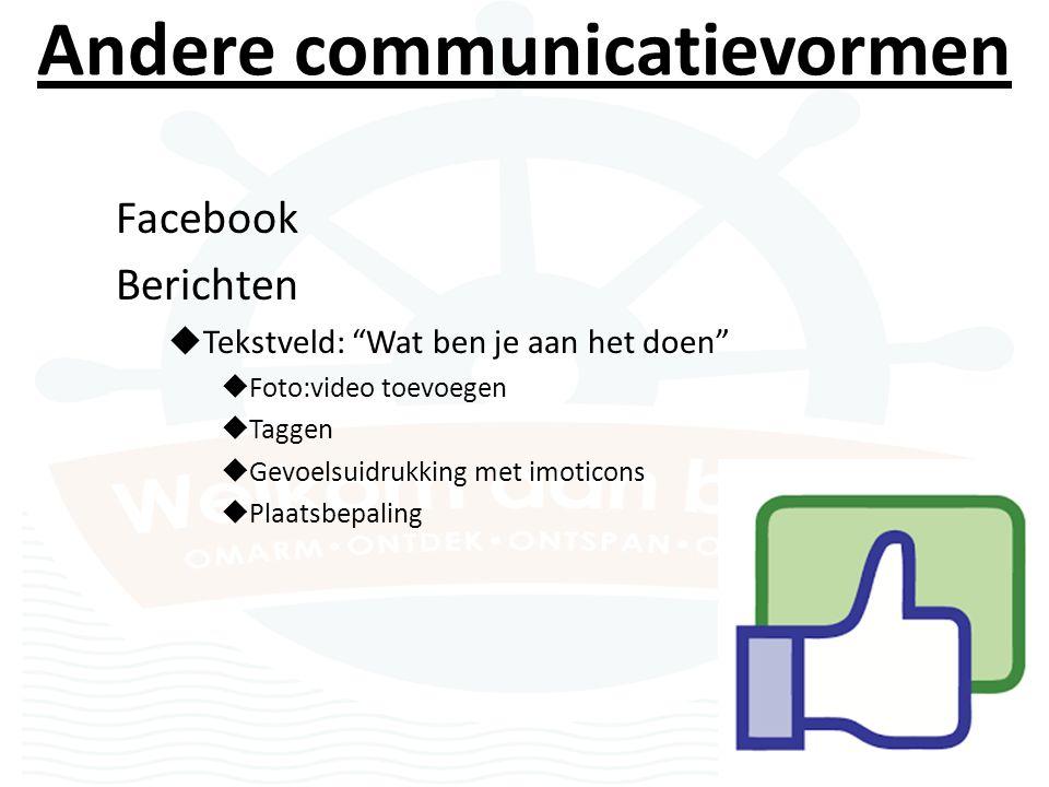 Andere communicatievormen Facebook Berichten  Tekstveld: Wat ben je aan het doen  Foto:video toevoegen  Taggen  Gevoelsuidrukking met imoticons  Plaatsbepaling