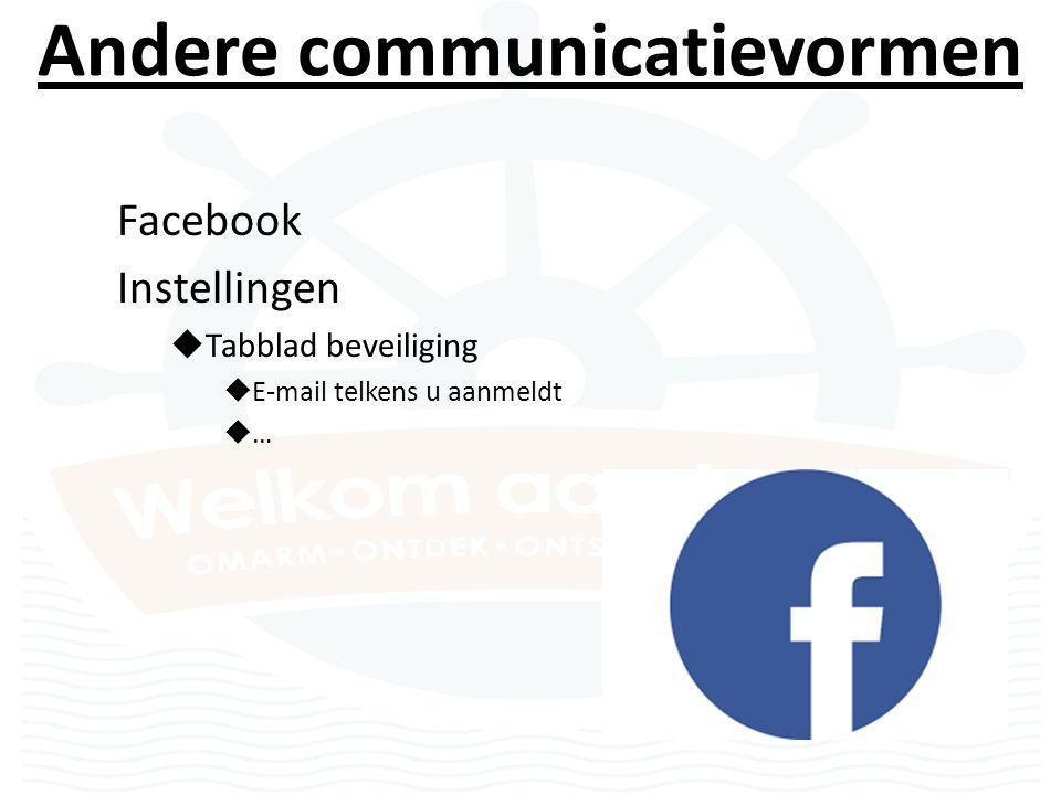 Andere communicatievormen Facebook Instellingen  Tabblad beveiliging  E-mail telkens u aanmeldt  …