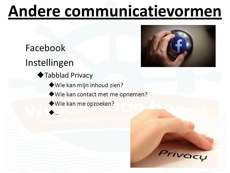Andere communicatievormen Facebook Instellingen  Tabblad Privacy  Wie kan mijn inhoud zien.