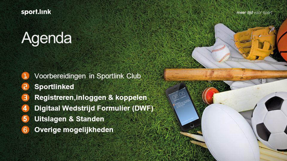 Agenda 2 1Voorbereidingen in Sportlink Club 2Sportlinked 3Registreren,inloggen & koppelen 4Digitaal Wedstrijd Formulier (DWF) 5Uitslagen & Standen Overige mogelijkheden 6