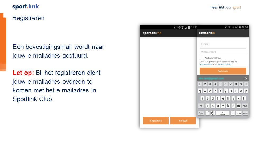 Registreren Een bevestigingsmail wordt naar jouw e-mailadres gestuurd.