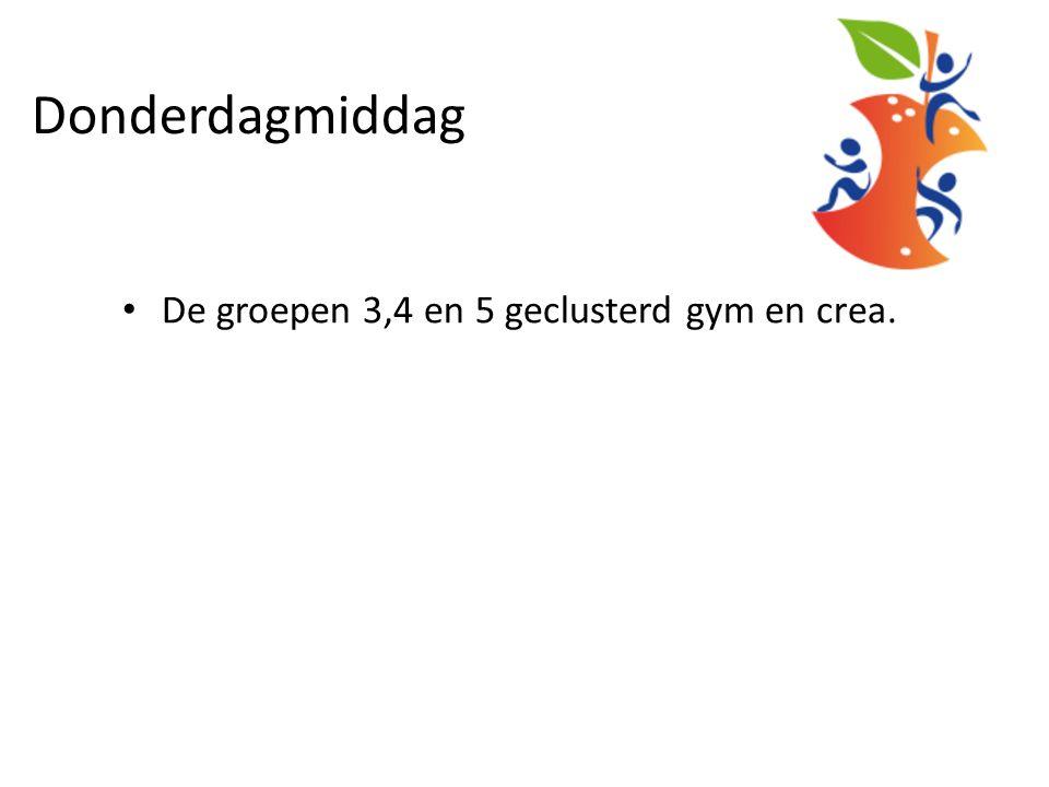 Donderdagmiddag De groepen 3,4 en 5 geclusterd gym en crea.