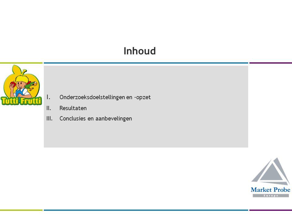 Inhoud I. Onderzoeksdoelstellingen en -opzet II.Resultaten III.Conclusies en aanbevelingen