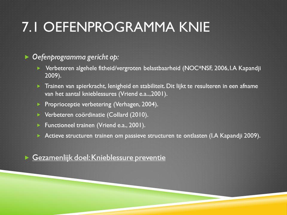 7.1 OEFENPROGRAMMA KNIE  Oefenprogramma gericht op:  Verbeteren algehele fitheid/vergroten belastbaarheid (NOC*NSF, 2006, I.A Kapandji 2009).