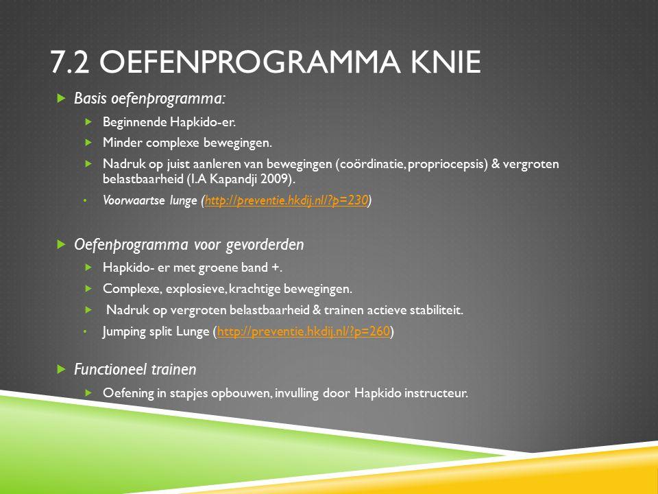 7.2 OEFENPROGRAMMA KNIE  Basis oefenprogramma:  Beginnende Hapkido-er.