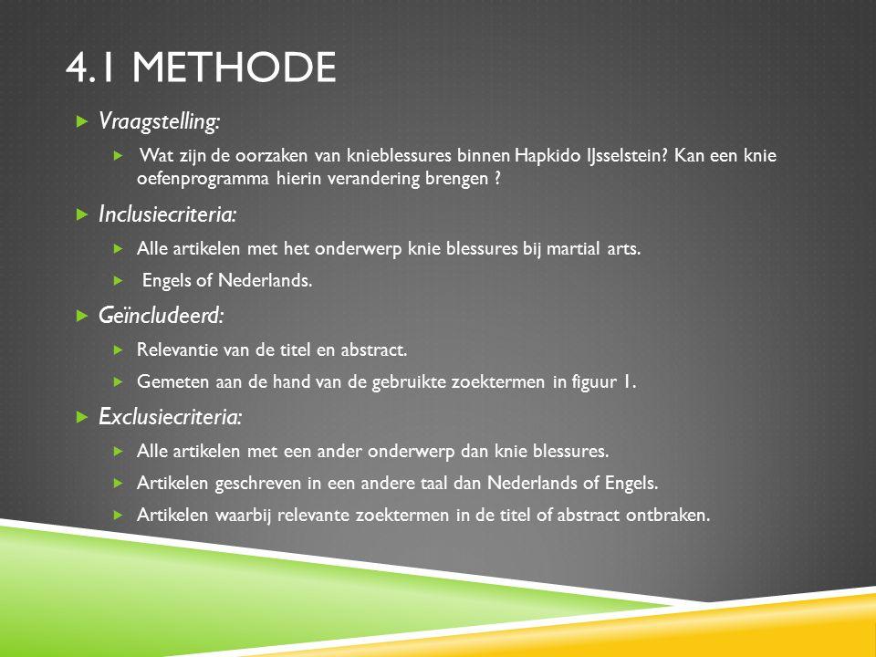 4.1 METHODE  Vraagstelling:  Wat zijn de oorzaken van knieblessures binnen Hapkido IJsselstein.