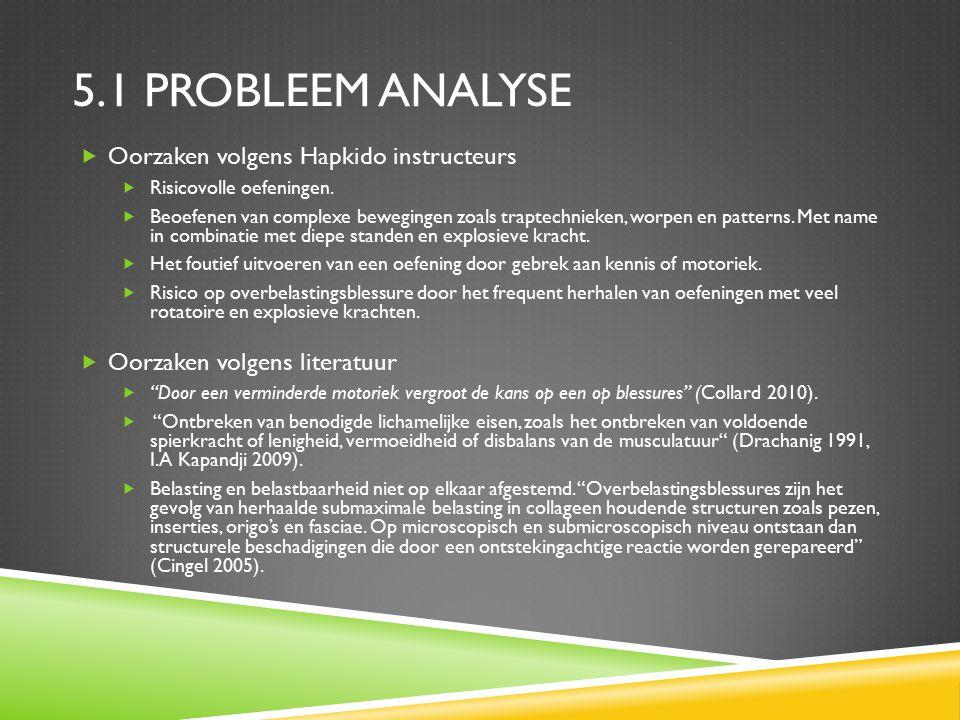 5.1 PROBLEEM ANALYSE  Oorzaken volgens Hapkido instructeurs  Risicovolle oefeningen.