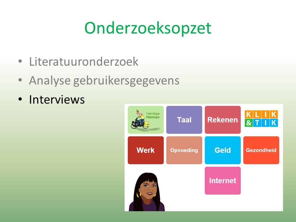 Onderzoeksopzet Literatuuronderzoek Analyse gebruikersgegevens Interviews