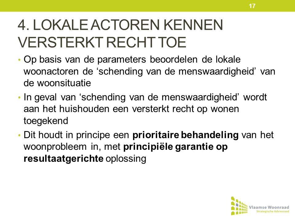 4. LOKALE ACTOREN KENNEN VERSTERKT RECHT TOE Op basis van de parameters beoordelen de lokale woonactoren de 'schending van de menswaardigheid' van de