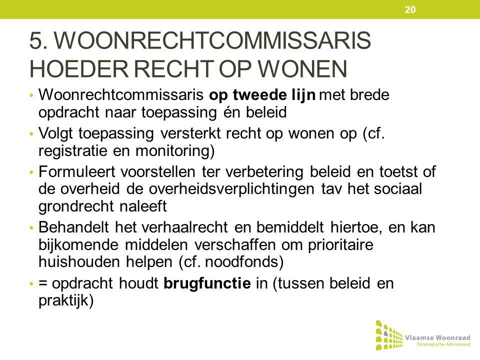 5. WOONRECHTCOMMISSARIS HOEDER RECHT OP WONEN Woonrechtcommissaris op tweede lijn met brede opdracht naar toepassing én beleid Volgt toepassing verste