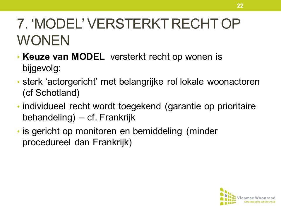 7. 'MODEL' VERSTERKT RECHT OP WONEN Keuze van MODEL versterkt recht op wonen is bijgevolg: sterk 'actorgericht' met belangrijke rol lokale woonactoren