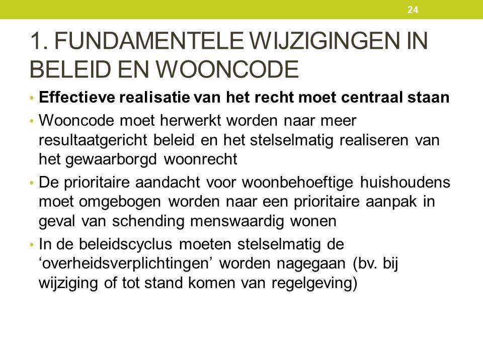 1. FUNDAMENTELE WIJZIGINGEN IN BELEID EN WOONCODE Effectieve realisatie van het recht moet centraal staan Wooncode moet herwerkt worden naar meer resu