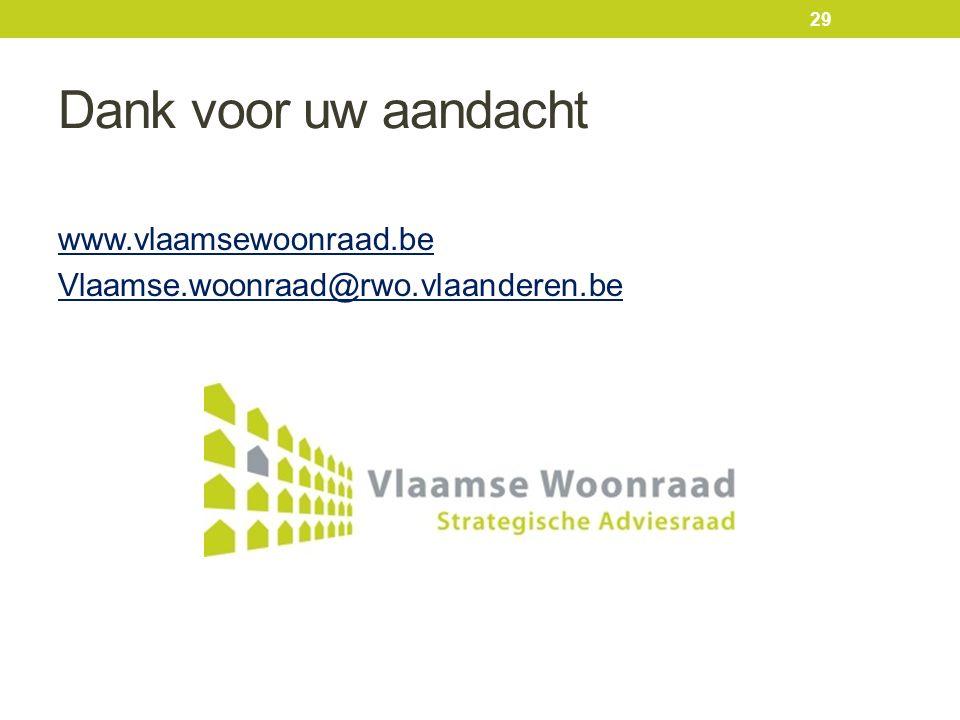 Dank voor uw aandacht www.vlaamsewoonraad.be Vlaamse.woonraad@rwo.vlaanderen.be 29