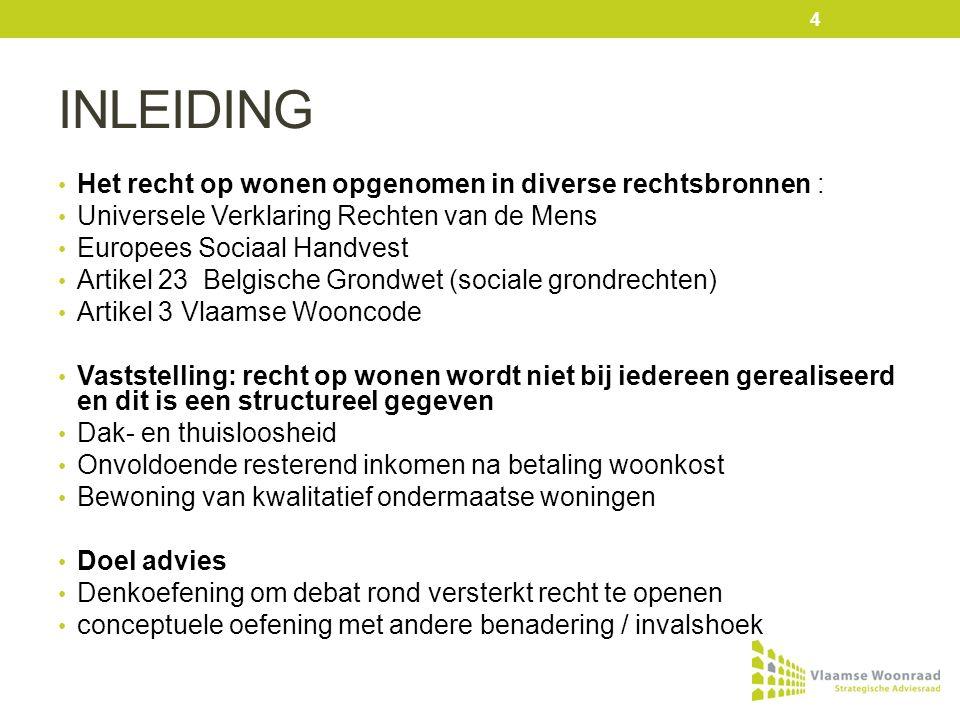 INLEIDING Recht op behoorlijk wonen in de Vlaamse wooncode constitutieve elementen van het recht goed uitgewerkt met aandacht voor betaalbaarheid, kwaliteit, woonzekerheid, toegang ….
