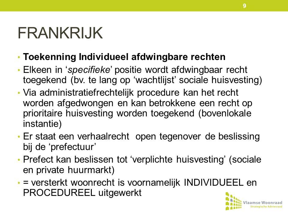 FINLAND Housing first principe Dit betreft een 'doelgroep-gerichte' benadering – dit houdt een recht in wanneer je tot de doelgroep behoort Hier wordt gefocust op het huisvesten van langdurig daklozen Hierbij komt de begeleiding in tweede orde (housing first) = versterkt woonrecht is gericht op DOELGROEP 10
