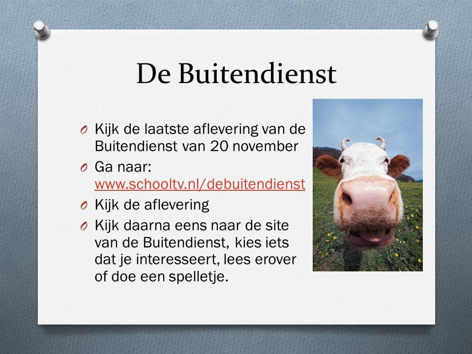 De Buitendienst O Kijk de laatste aflevering van de Buitendienst van 20 november O Ga naar: www.schooltv.nl/debuitendienst www.schooltv.nl/debuitendie