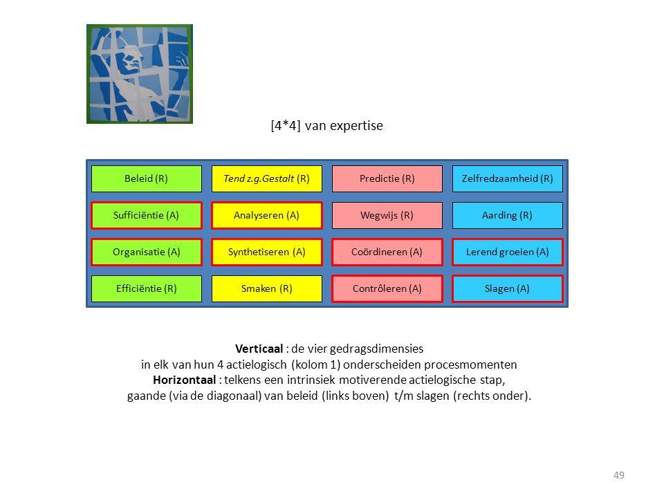 Beleid (R)Tend z.g.Gestalt (R)Predictie (R)Zelfredzaamheid (R) Sufficiëntie (A)Analyseren (A) Wegwijs (R)Aarding (R) Organisatie (A)Synthetiseren (A)Coördineren (A)Lerend groeien (A) Efficiëntie (R)Smaken (R) Contrôleren (A)Slagen (A) [4*4] van expertise Verticaal : de vier gedragsdimensies in elk van hun 4 actielogisch (kolom 1) onderscheiden procesmomenten Horizontaal : telkens een intrinsiek motiverende actielogische stap, gaande (via de diagonaal) van beleid (links boven) t/m slagen (rechts onder).